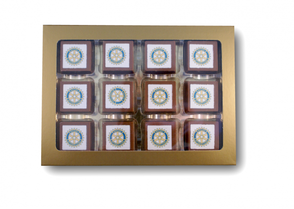 Logopakket 12 Logobonbons Melk/Puur 4k