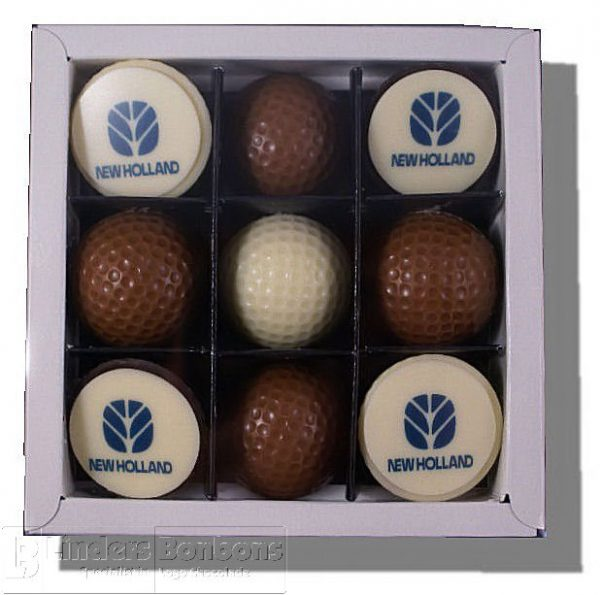 9 golfballen melk/wit/puur