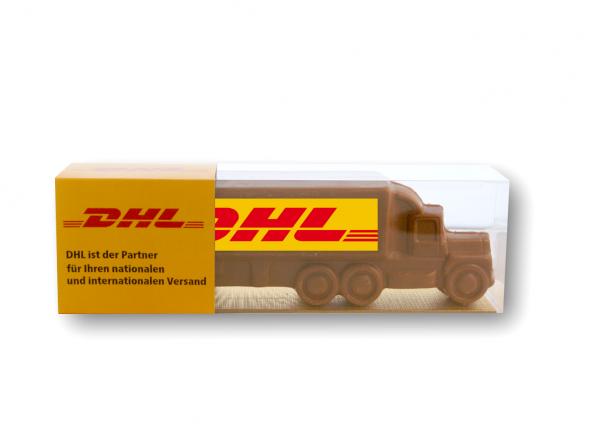 Chocolade vrachtwagen met logo